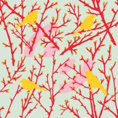 Spring alert birds - egg/NEW red/gold
