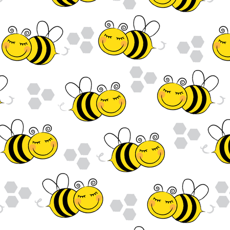 bees-with-hexagons fabric by lilcubby on Spoonflower - custom fabric