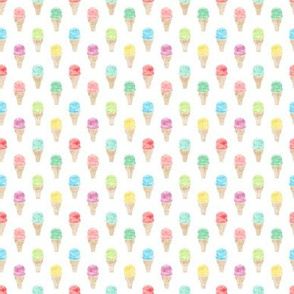 (micro print) watercolor single scoop icecream -  multi