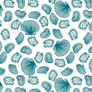 Seashells (dark teal on white)