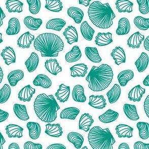 Seashells (teal on white)