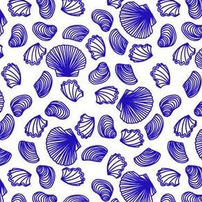 Seashells (blue on white)
