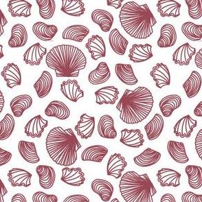 Seashells (dark mauve on white)