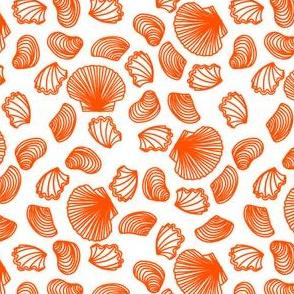 Seashells (bright orange on white)
