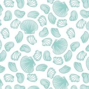 Seashells (light teal on white)