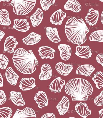 Seashells (white on dark mauve)