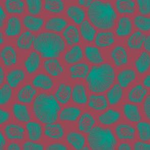 Seashells (teal on dark mauve)