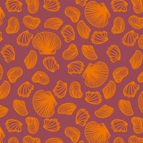 Seashells (orange on dark mauve)