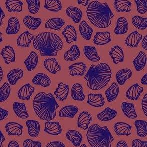 Seashells (purple on dark mauve)