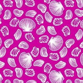 Seashells (white on pink)