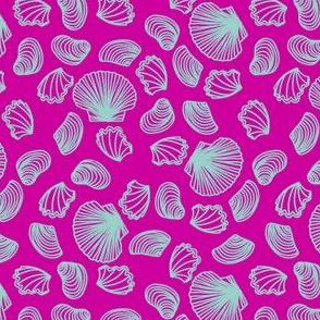 Seashells (light teal on pink)