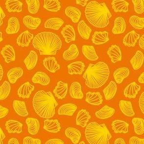 Seashells (yellow on orange)