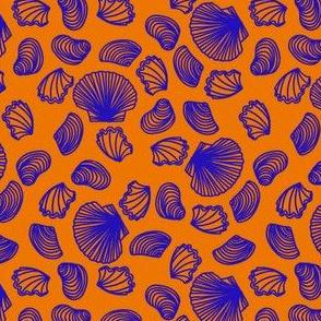 Seashells (blue on orange)