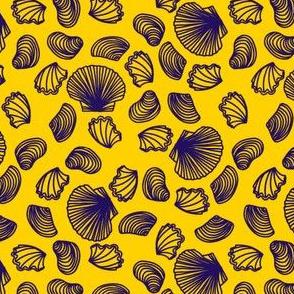 Seashells (purple on yellow)