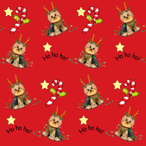 Yorkie Christmas S Red fabric by catialee on Spoonflower - custom fabric