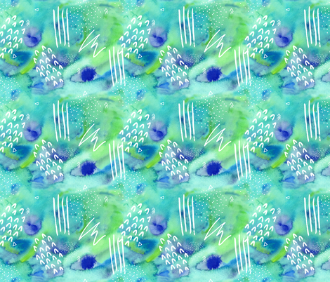 Watercolour Abstract Pattern in Green and Blue fabric by suzzincolour on Spoonflower - custom fabric