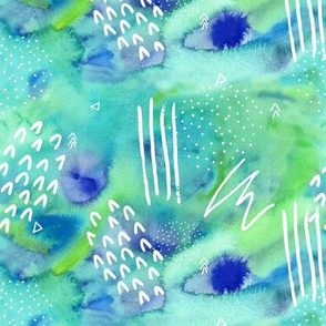 Watercolour Abstract Pattern in Green and Blue