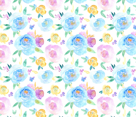 Watercolor flowers roses fabric by graphicsdish on Spoonflower - custom fabric