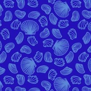 Seashells (mid blue on blue)