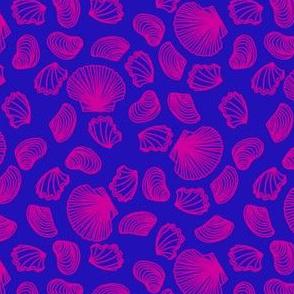 Seashells (pink on blue)