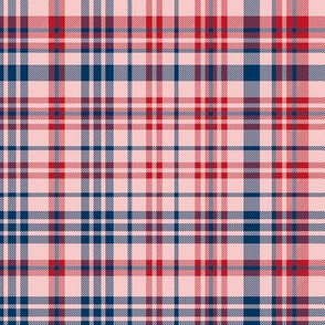 plaid navy and red america usa gingham plaid fabric pink