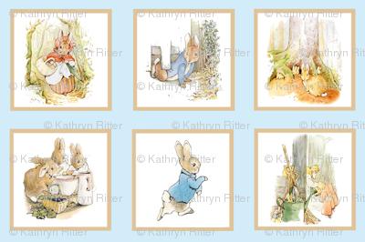 Peter Rabbit Quilt Block Panel No. 2  - Light Blue