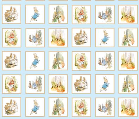 Peter Rabbit Quilt Block Panel No. 2  - Light Blue fabric by aspenartsstudio on Spoonflower - custom fabric