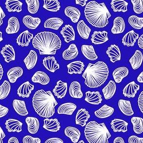 Seashells (white on blue)