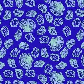 Seashells (light teal on blue)