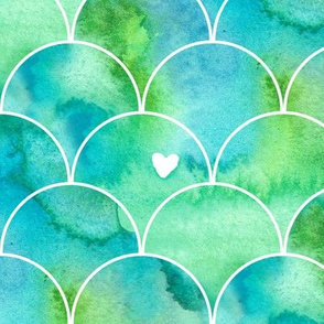 Watercolour Mermaid Scales in Green and Blue