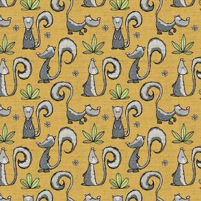 Skunks on knit - mustard