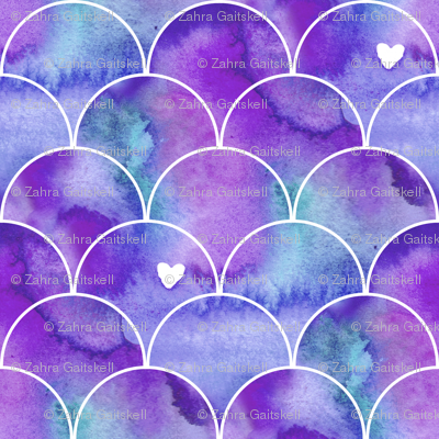 Watercolour Mermaid Scales in Purple and Blue