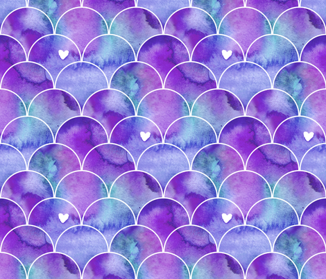 Watercolour Mermaid Scales in Purple and Blue fabric by suzzincolour on Spoonflower - custom fabric