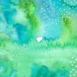 Green and Blue Abstract Watercolour Pattern