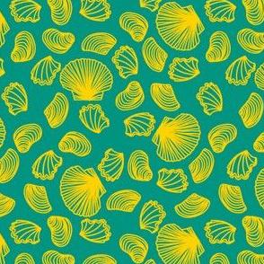 Seashells (yellow on teal)