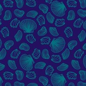 Seashells (dark teal on purple)
