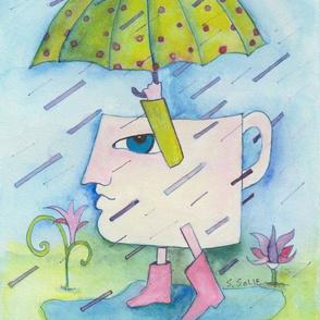 Coffee Big Head in the Rain