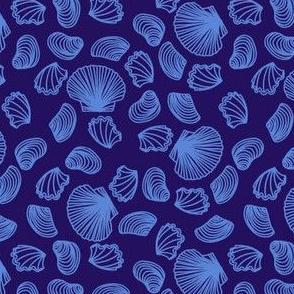 Seashells (mid blue on purple)