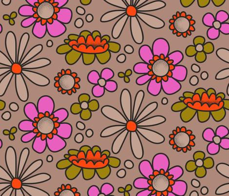 Retro Flowers fabric by bashfulbirdie on Spoonflower - custom fabric
