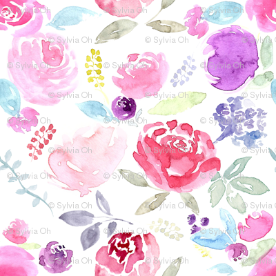 Watercolour Florals Vibrant on White MEDIUM