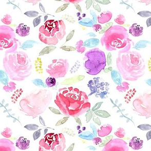 Watercolour Florals Vibrant on White MEDIUM