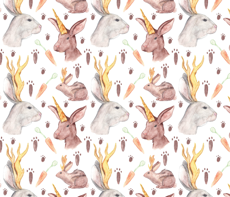 Mythical Rabbits  fabric by svaeth on Spoonflower - custom fabric