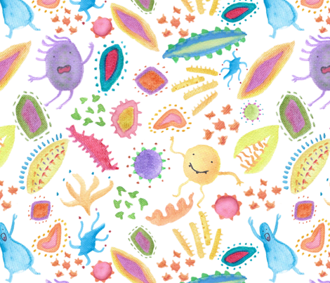 Micro alien world fabric mandalinarossa spoonflower for Alien print fabric