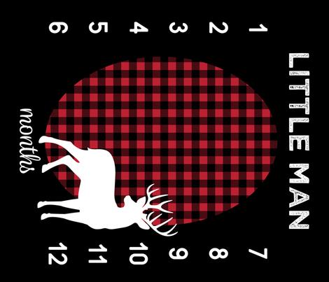 "42"" - Little Man Buffalo Plaid w/ Buck - watch me grow blanket  fabric by littlearrowdesign on Spoonflower - custom fabric"