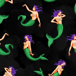 Watercolour Mermaid - Black