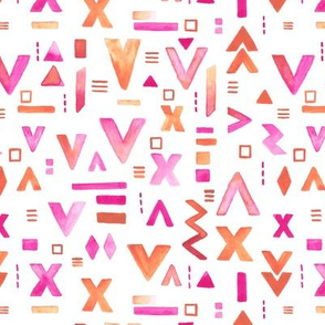 Watercolors abstract geometric arrows ikat and aztec inspired design pink orange