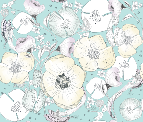 Spring Whimsical Garden In Pastel Watercolor Wallpaper