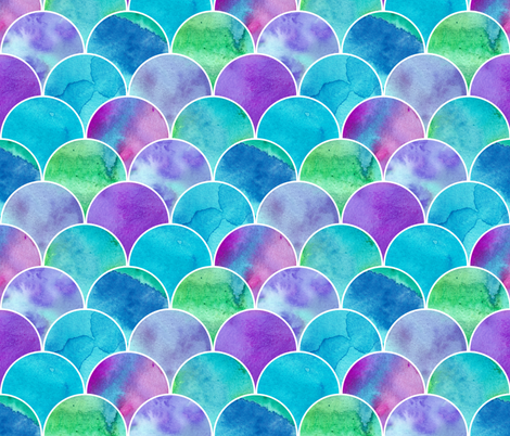 Watercolour Scales Mix up Pattern fabric by suzzincolour on Spoonflower - custom fabric