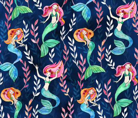 Merry Mermaids in Watercolor fabric by micklyn on Spoonflower - custom fabric