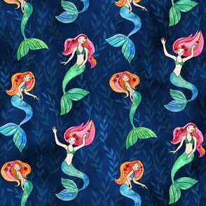 Little Merry Mermaids - faded seaweed leaf background